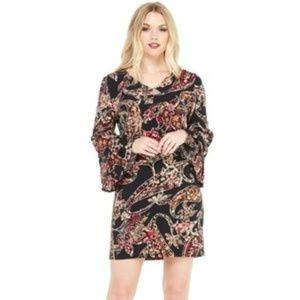 London Times 3/4 Length Flounce Bell Sleeve Print